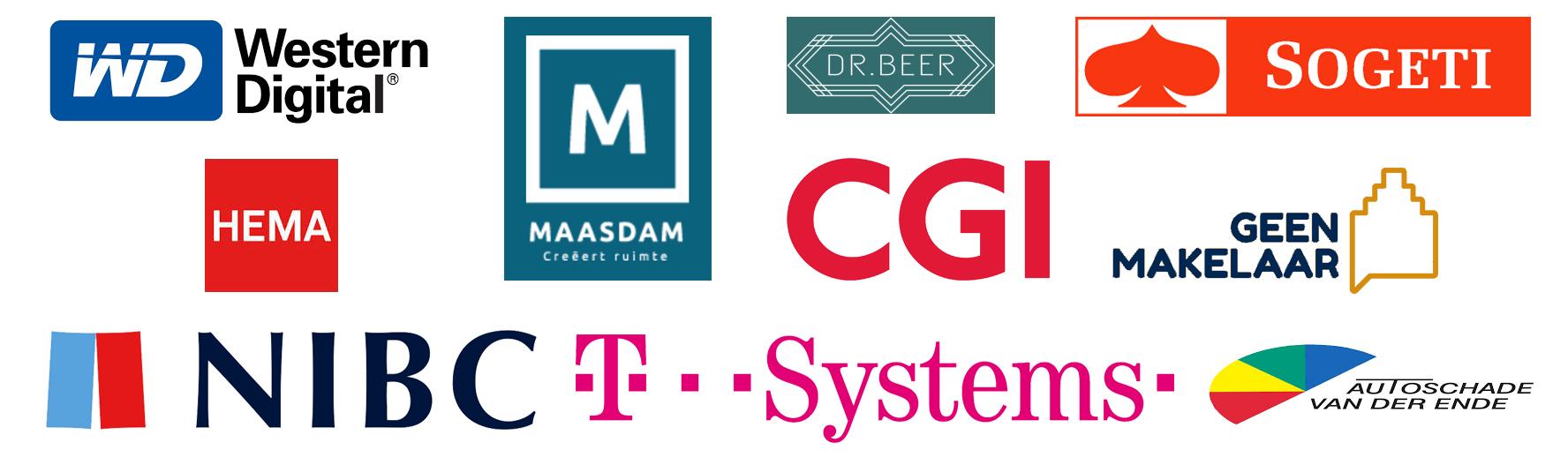 Overzicht van opdrachtgevers met hun logo's